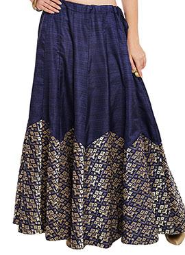 Studiorasa Blue Art Silk Skirt