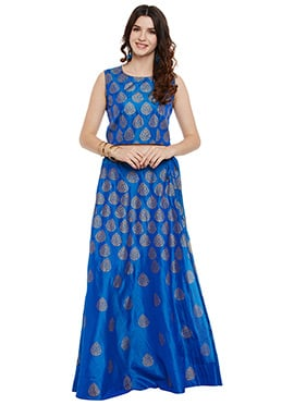 Studiorasa Blue Art Silk Skirt Set