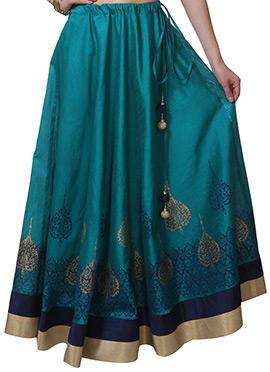 Studiorasa Block Printed Bondi Blue Art Silk Skirt