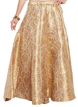 Studiorasa Cream N Gold Art Silk Brocade Skirt