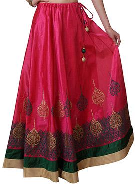Studiorasa Block Printed Dark Pink Art Silk Skirt
