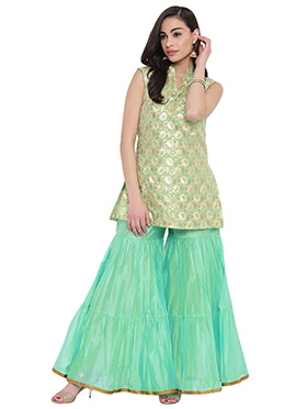 Studiorasa Gold N Light Green Art Silk Kurti