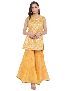 Studiorasa Golden Yellow Art Silk Kurti