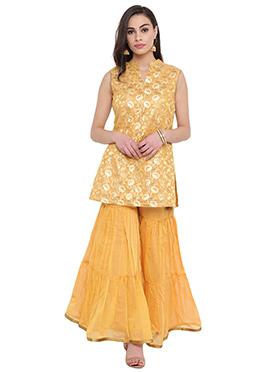 Studiorasa Golden Yellow Art Silk Sharara Set