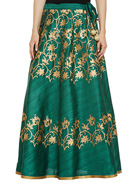 Studiorasa Green Art Silk Skirt