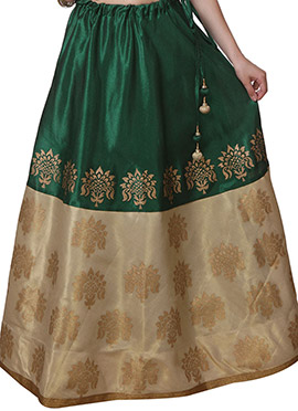 Block Printed Studiorasa Green N Beige Skirt