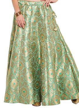 Studiorasa Light Green Art Silk Brocade Skirt