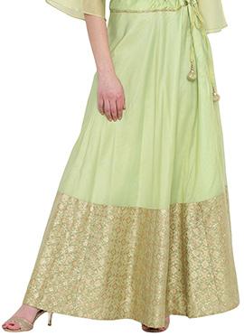 Studiorasa Light Green Art Silk Skirt