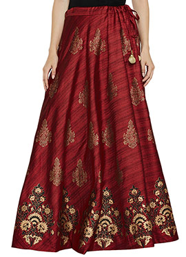 Studiorasa Maroon Art Silk Skirt