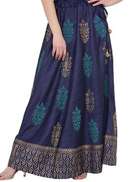 Studiorasa Navy Blue Art Dupion Silk Skirt