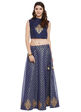 Studiorasa Navy Blue Art Silk Skirt Set