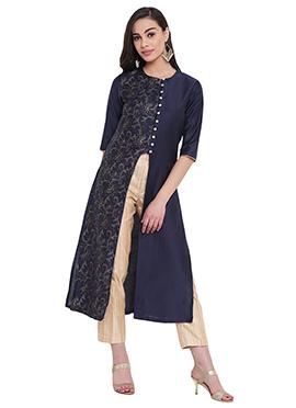 Studiorasa Navy Blue Cotton Silk Kurti