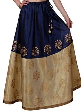 Studiorasa Navy Blue N Beige Block Printed Skirt