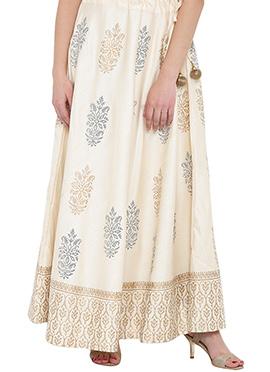 Studiorasa Off White Art Dupion Silk Skirt