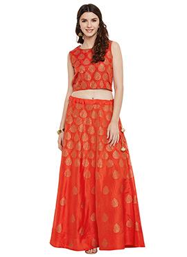 Studiorasa Orange Art Silk Skirt Set