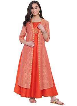Studiorasa Orange Cotton Silk Kurti