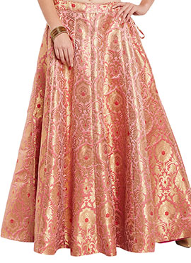 Studiorasa Pink N Gold Art Silk Brocade Skirt