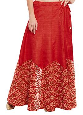 Studiorasa Red Art Silk Skirt
