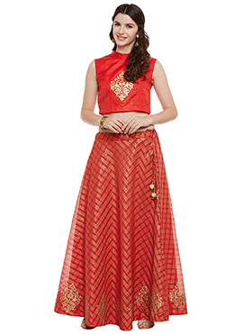 Studiorasa Red Art Silk Skirt Set