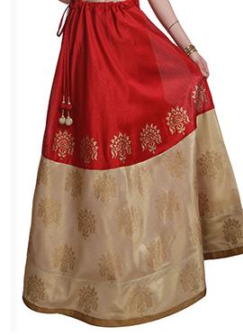 Studiorasa Block Printed Red N Beige Art Silk Skir
