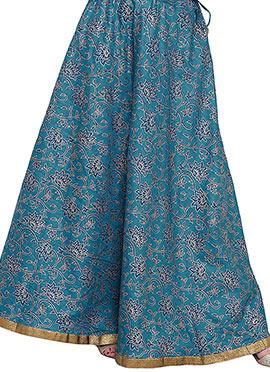 Studiorasa Teal Blue Art Dupion Silk Skirt