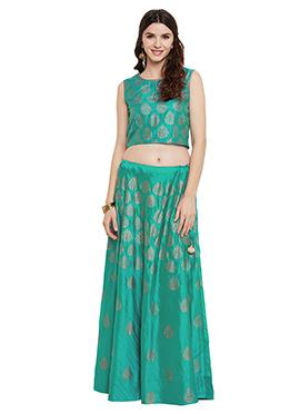 Studiorasa Teal Green Art Silk Skirt Set