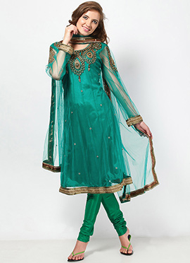 Stunning Green Net Plus Size Kalidar Suit