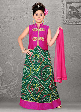 Stunning Green Teens Lehenga Choli