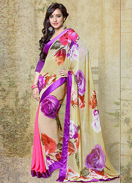 Stylish Beige Neha Sharma Saree