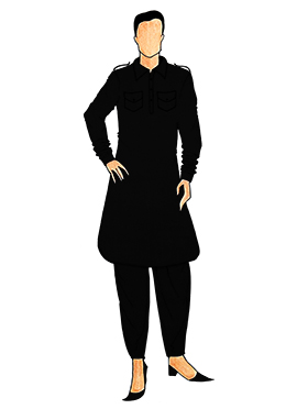 Stylish Black Lycra Pathani Set