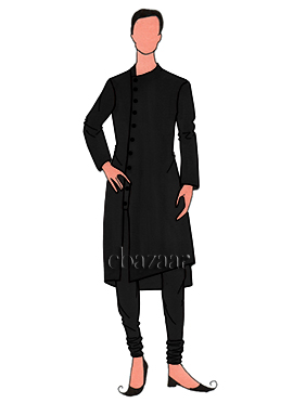 Stylish Black Mulberry Silk Kurta Set