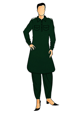 Stylish Dark Green Lycra Pathani Set