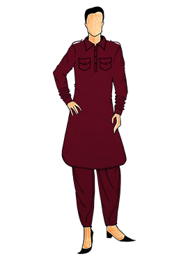 Stylish Dark Maroon Lycra Pathani Set