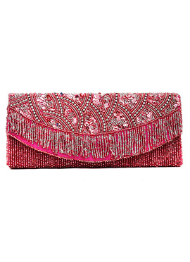 Stylish Deep Pink Beads Embellished Clutch