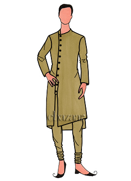 Stylish Gold Mulberry Silk Kurta Set