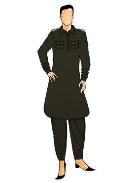 Stylish Mehndi Green Lycra Pathani Set