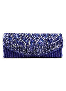 Stylish Indigo Blue Beads Embellished Clutch
