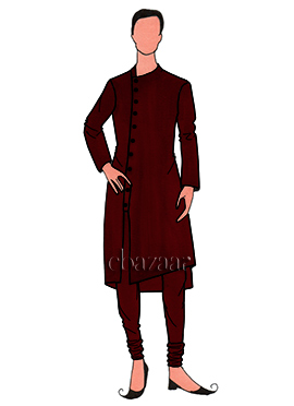 Stylish Maroon Mulberry Silk Kurta Set