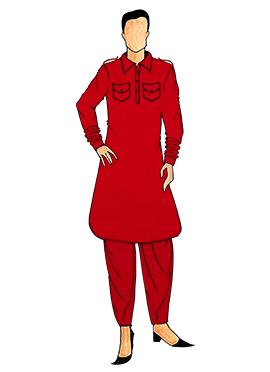 Stylish Red Lycra Pathani Set
