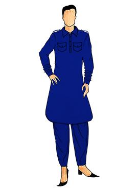 Stylish Royal Blue Lycra Pathani Set