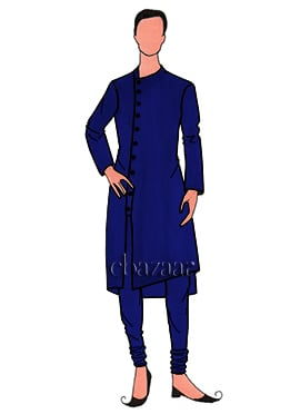 Stylish Royal Blue Mulberry Silk Kurta Set