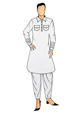 Stylish White Lycra Pathani Set