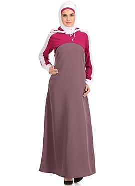 Subhiyah Mauve N Pink Jersey Abaya