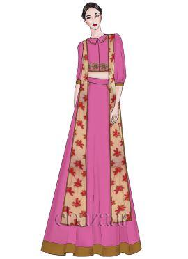 Super Pink Umbrella Georgette Lehenga Set