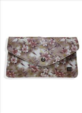 Superb Beige Fancy Fabric Clutch