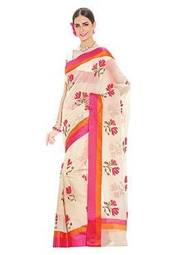Supernet Cream Floral pattern Embroidered Saree