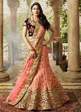 Surbhi Chandna Peach Art Silk A Line Lehenga