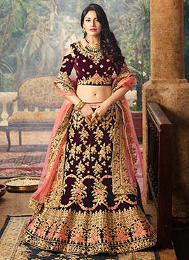Surbhi Chandna Wine Art Silk A Line Lehenga