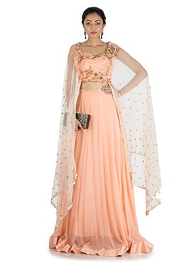 Sweet Peach Georgette N Chiffon Skirt Set