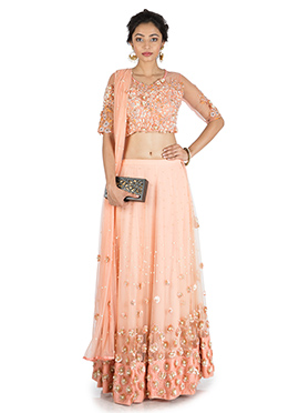 Sweet Peach Net Umbrella Lehenga Choli
